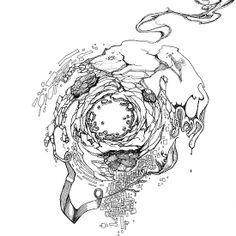 Hole in the Earth - Sketch Pen & Ink Illustration