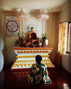 A typical Burmese Buddhist shrine room. One may meditate pay respects and recite suttas every morning and evening. Most all house and apartment designs whether owned by a pauper or millionaire will include such a private space or alcove.  #mogok #meditation #shrine #shrineroom #apartment #apartmentdesign #housedesign #sutta #pauper #millionaire #alcove #myanmar #myanmarphotos #burmaprodazha