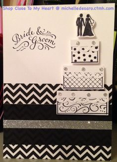 Wedding card made from CTMH Paper Fundamentals and CTMH The Happy Couple stamp set. Also used some leftover crystals from the Frosted Cardmaking workshop. Inspiration from Pinterest, pinned from Melissa Child's blog.