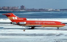 Braniff International Boeing 727-191 N298BN on a frosty day at New York-LaGuardia, February 1979. (Photo: Howard Chaloner, Copyright: Braniff Flying Colors Collection)
