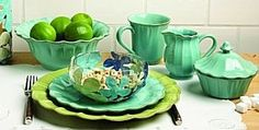Casafina South Beach Turquoise  http://www.prestigetableware.com/Casafina-South-Beach-Turquoise-Dinnerware-s/4541.htm