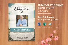 Funeral Program Template, Memorial Obituary Template | Editable With ...