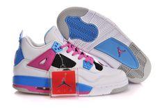 Air Jordan 4 Retro White Blue Pink Cement Grey Womens Shoes