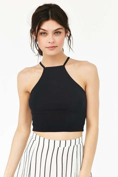 Truly Madly Deeply Cropped High Neck Tank Top in Black