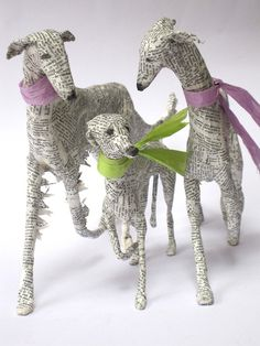 Gorgeous dogs using wire, papier mache and old recycled books