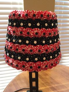 Lampshade covered in Fabric Yoyos Custom by EmbellishMeCreations