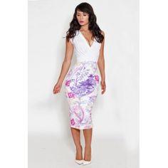 USD8.99Cheap Sexy V Neck Tank Sleeveless Patchwork Print White Polyester Knee Length Dress