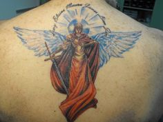 Colourful guardian angel back design