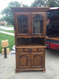 From brown to shabby chic! Corner Hutch, China Cabinet, Lisa, Shabby Chic, Room Ideas, Dining Room, Storage, Furniture, Design