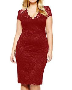 7d58533c7b Daci Womens Lace Plus Size V Neck Sexy Bodycon Party Evening Dress Short  Sleeve Wine 18W