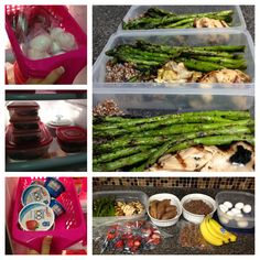 Clean meal prep. Chicken, asparagus, sweet taters, yogurt, boiled eggs, banana, berries, granola. DO-ABLE!