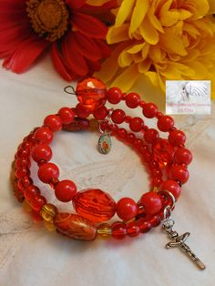 Rosary Bracelet/Charm/Wire/Wrap Around/Prayer Beads Glass/Wood/Red Gold/Crucifix Silver/Catholic/Handmade MWB-R#0100   Medium/Large Wrist by Justmyhands1Rosaries on Etsy