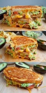 Bacon Guacamole Grilled Cheese Sandwich (we also added diced tomatoes…tasted good in a wrap, too--VERY good! -Dawn) # Food and Drink meals lunches Bacon Guacamole Grilled Cheese Sandwich Best Avocado Recipes, Healthy Recipes, Good Healthy Snacks, Healthy Breakfast Recipes, Eating Healthy, Healthy Meals, Think Food, Love Food, Great Recipes