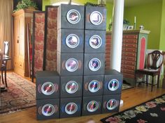 For VBS, I made 2 sets of speakers out of boxes, spray painted black with small paper plates cds. Painted the vibrations with neon paint. (used 16 cans of spray paint! Hip Hop Party, Dj Party, Retro Party, Music Party, Party Time, Marshmello Dj, 90s Theme, Rock Star Party, Trunk Or Treat