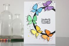 Handmade Birthday Cards, Happy Birthday Cards, Greeting Cards Handmade, Tarjetas Diy, Paper Smooches, Butterfly Cards, Butterfly Gifts, Sympathy Cards, Diy Cards