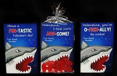 Shark Valentine's Day Cards - Swedish fish or fish crackers PRINTABLE 4 different designs, Jaws Fish Great White Classroom Valentine by TheIndigoStudio