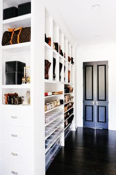 Walk-in closet built-in shoe shelves