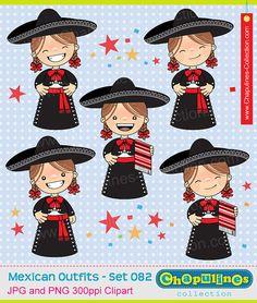 60% desc. Niñas con traje charro clipart, traje de gala de charra, moño rojo, traje típico Independencia, Revolución Mexicana, 5 de Mayo 082