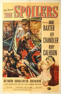 """SPOILERS,THE. Original 1955 US 27""""x41""""Theater Movie Poster. Free Shipping. Anne Baxter,Jeff Chandler,Rory Calhoun,Ray Danton,Barbara Britton by ArtisticSoulStudio on Etsy"""