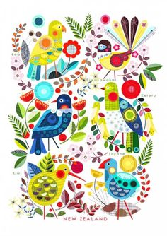 Colourful modern print of New Zealand native birds and plants. Illustrations of Tui, Kereru etc in the colours and style of mid century modern style design by NZ artist Ellen Giggenbach. Nz Art, Maori Art, Wall Art For Sale, Modern Art Prints, New Print, Print Store, Note Cards, Nativity, Folk Art