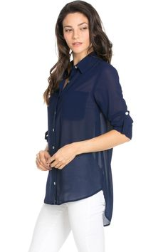 Roll Up Sleeve Button Down Dark Navy Chiffon Blouse