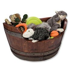 Wine Barrel Toy Chest  Your dog toys will always be close at hand with this lovely storage bin dog toy box.