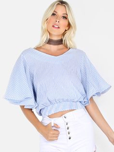 "Boring clothes should be a fine, so the Flutter Sleeve Stripe Top has got you covered! Features striped material, V neckline, flutter style sleeves with hemline boning, elasticized ruched waistband and a back bow tie design. Top measures 20.4"" in. from shoulder to bottom hem. Pair with distressed jeans and buckle booties for a daytime ready look. #tops #stripe #day #MakeMeChic #MMC #style #fashion #newarrivals #summer16"