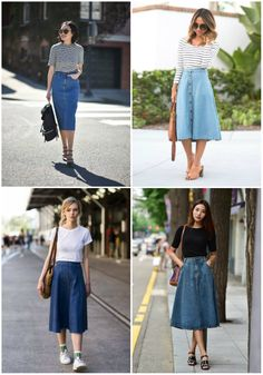 O retorno da saia jeans in 2020 Long Denim Skirt Outfit, A Line Skirt Outfits, Denim Outfit, Modest Outfits, Modest Fashion, Casual Outfits, Fashion Outfits, Casual Skirts, Long Denim Skirts