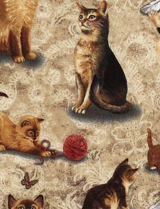 Realistic Cats  Manufacturer: Timeless Treasures SKU:Cat-C2293-Natural