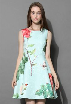 Fond of Roses Jacquard Dress in Mint Blue - New Arrivals - Retro, Indie and Unique Fashion