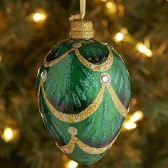 Capiz Egg Ornament - Green