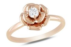 Pink Gold & diamond Flower Ring for Mom.... or me!