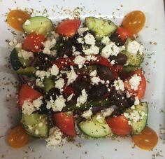 Our Greek Salad features Chopped Romaine Lettuce, Big Chunk Cucumbers, Yellow Cherry Tomatoes, Big Chunk Red Roma Tomatoes, Kalamata Olives, Green Peppers, Red Onion, Roasted Red Peppers and Greek Feta tossed in our creamy Greek Dressing ... YUM! Roma Tomatoes, Cherry Tomatoes, The Bistro, Kalamata Olives, Greek Salad, Roasted Red Peppers, Stuffed Green Peppers, Lettuce, Cobb Salad