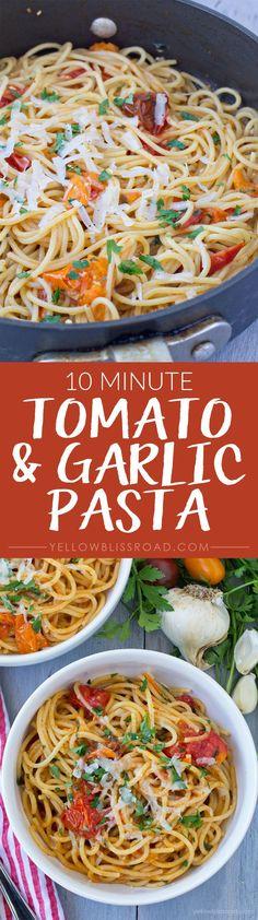 10 Minute Tomato and Garlic Pasta
