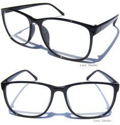 6e67094170a0 RETRO DESIGN CLEAR LENS GLASSES BLACK OVERSIZE FRAME Nerd Smart Hipster  Style