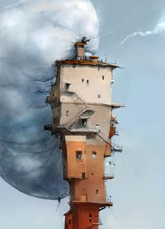 Fishin' clouds by Zalas (deviantART) -- I really don't have any deep thoughts regarding art. Environment Concept, Environment Design, Fantasy Landscape, Urban Landscape, Full Hd Wallpapers, Montage Photo, Fantasy Kunst, Norman Rockwell, Environmental Art