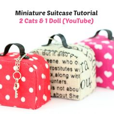 Miniature doll suitcase tutorial - that open and close by 2 Cats & 1 Doll       Tutorial is available here: https://www.youtube.com/watch?v=cYSOOWSoXHs