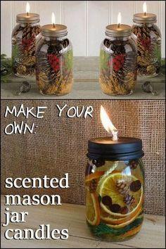 Oil Candles, Mason Jar Candles, Mason Jar Crafts, Mason Jar Diy, Mason Jar Candle Holders, Candle Sticks, Diy Christmas Crafts To Sell, Diy Christmas Ornaments, Diy Crafts To Sell