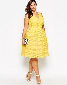 Image 4 ofChi Chi London Plus Scallop Lace Midi Prom Dress