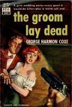 """""""The Groom Lay Dead"""" by George Harmon Code. 1950s pulp novel with redhead on cover"""