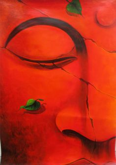 This is my latest painting on Buddha in red  If you want to purchase visit http://paintinghunter.com/#axzz2zx22nM3g