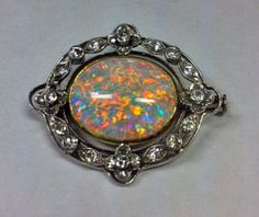 Murrle Bennett Edwardian Platinum Opal Diamond Brooch - England c.1910