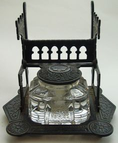 Inkwell Set with Cast Iron Letter & Pen Holder Stand- Circa 1879 Fountain Pen Drawing, Fountain Pen Ink, Antique Coins, Antique Desk, Art Deco Movement, How To Write Calligraphy, Penmanship, Pen And Paper, Writing Instruments