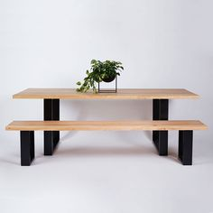 Industrial meets contemporary with the Pyrmont Dining Table. Crafted from a solid Elm timber top on a black powder coated stainless steel frame, this dining table is available in a range of sizes and colours.-Designed by Urban Couture Design+Homewares Wooden Dining Tables, Dining Table Chairs, Round Dining Table, Table Legs, Industrial Style Furniture, Timber Table, By Lassen, Furniture Design, Smart Furniture