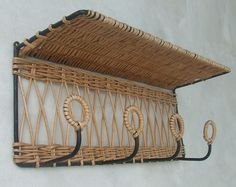 coat rack shelf, vintage rattan and, years 50/60, cloakroom