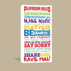 Hey, I found this really awesome Etsy listing at https://www.etsy.com/listing/107465623/10x20-playroom-rules-canvas-wrap