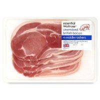 essential Waitrose usmoked British bacon 4 rashers  (Nancy's favorite!)
