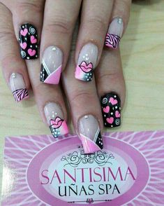 Uñas Bellas Sexy Nails, Love Nails, Fun Nails, Pretty Nails, Valentine Nail Art, Holiday Nail Art, Cute Acrylic Nails, Cute Nail Art, Boxing Day