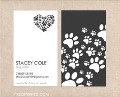 Business cards for dog walkers, pet sitters, grooming, pet hotels, etc.