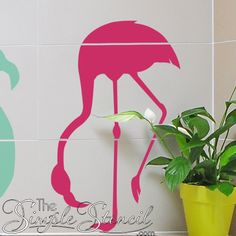 A popular flamingo wall art design from The Simple Stencil. Adds fun to a Florida or beach themed room or party. Other flamingo styles available! Vinyl Decor, Vinyl Wall Decals, Stencil Vinyl, Stencils, Wall Art Designs, Wall Design, Sharpie Crafts, Bathroom Wall Decor, Room Themes